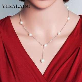 YIKALAISI 925 Sterling Silver Chain Natural freshwater Pearl Necklace Pandants Fashion Chokers For Women 7-8mm Pearl 2 Colour