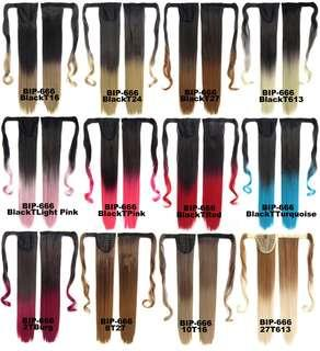 Ponytail Hair Extensions Wrap Around Ombre Tone