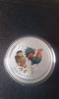 Lunar color rooster 1 oz silver coin