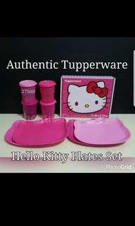 🚚 Instock Authentic Tupperware - Ready stock  Hello Kitty Plates Set (4) 23.5cm (L) × 20.1cm (W) × 1.6cm (H) Gift Box  Retail Price S$34.00  Exclusive Purchase  Sweet Pink Tumbler 275ml (4) Retail Price S$20.80 Now S$13.50 pink tumbler