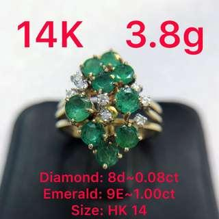 14K gold diamond ~0.08ct & emerald ~1.00ct ring 鑽石&綠寶戒指
