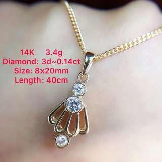 14K gold diamond pendant necklace ~0.14ct 鑽石咀鍊