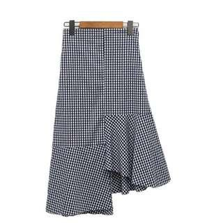 Korean Checker Uneven Skirt