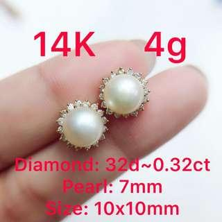 14K gold diamond ~0.32ct & pearl 7mm earrings 鑽石&珍珠耳環