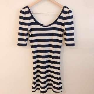 Forever 21 blue and white stripe dress #STB50