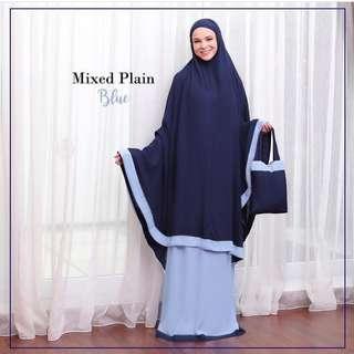 Mukena Polos - Mixed Plain Blue