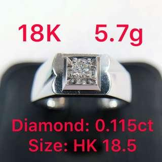 18K white gold diamond ring 0.115ct 鑽石戒指 男戒