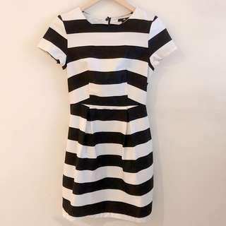 H&M black and white stripe dress #STB50