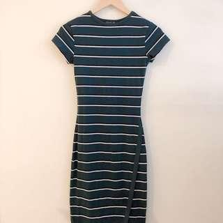 Cotton On green stripe dress with asymmetric hem #STB50