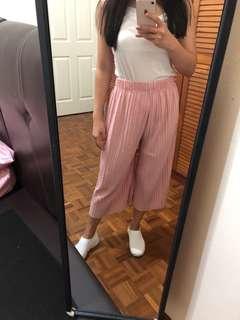 Pleated pants light pink