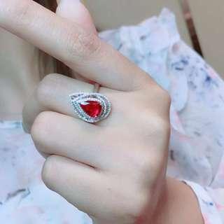 詢價-1.08ct 18K金天然紅寶石鑽石戒指 18K gold Natural ruby dia ring (AIGS證書)