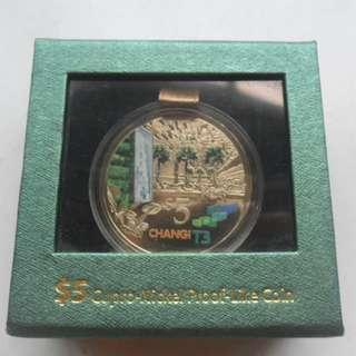 2008 Singapore Changi Airport T3 $5 Cupro-Nickel Proof-Like Coin