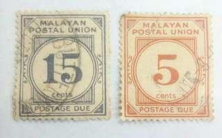 Malayan Postal  Union Vintage Stamps