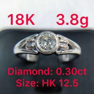 18K white gold diamond ring 0.30ct 鑽石戒指