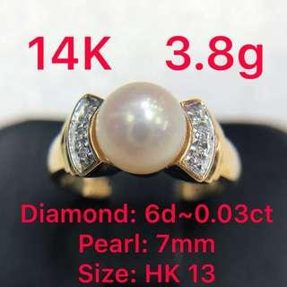 14K gold diamond ~0.03ct & pearl 7mm ring 鑽石&珍珠戒指