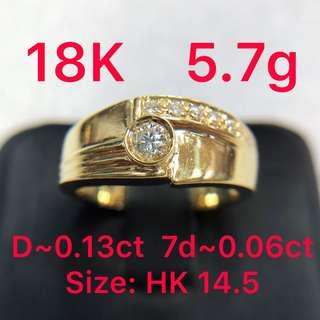 18K gold diamond ring ~0.13ct ~0.06ct 鑽石戒指