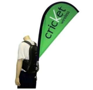 Used 2 x Advertising Backpack Only for Banner Display, Walking Billboard Backpack Beach Flying Flag