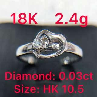 18K white gold diamond ring 0.03ct 鑽石戒指