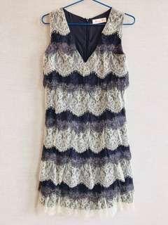 100% 正品 Authentic 澳洲品牌 Alannah Hill 紫色 白色 蕾絲 靚料 連身裙 洋裝 晚宴服 Purple & white delicate laces one piece dress with layering details 極新,著過一次 As new, wore once