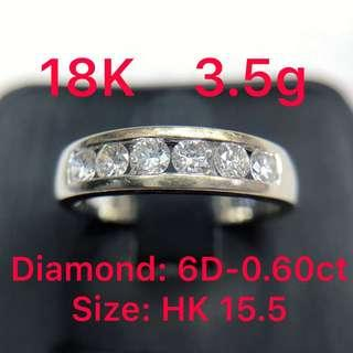 18K white gold diamond ring 0.60ct 鑽石戒指