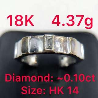 18K white gold diamond ring ~0.10ct 鑽石戒指