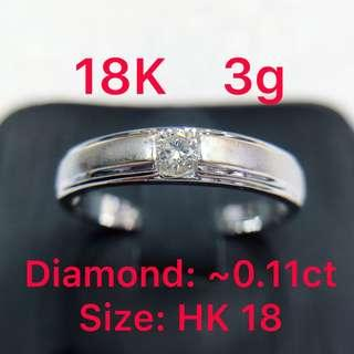 18K white gold diamond ring ~0.11ct 鑽石戒指