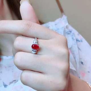 1.09ct 18K金天然紅寶石鑽石戒指 18K gold Natural ruby diamond ring (AIGS證書)