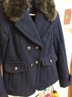 🚚 🦅 American Eagle深藍毛領羊毛鋪棉大衣