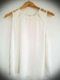 Guess White Silky Shirt