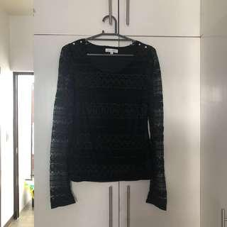 Valley Girl Black Lacy Long Sleeve