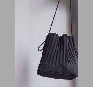 Black Pleated Bucket Bag