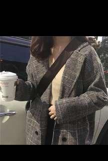 🚚 韓版 格子大衣外套