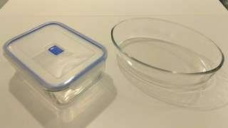 Baking plate and glass Tupperware