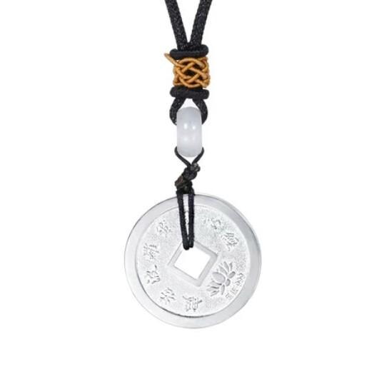 999 sterling silver copper money pendant men and women heart retro fashion round copper money six sons true words full silver pendant