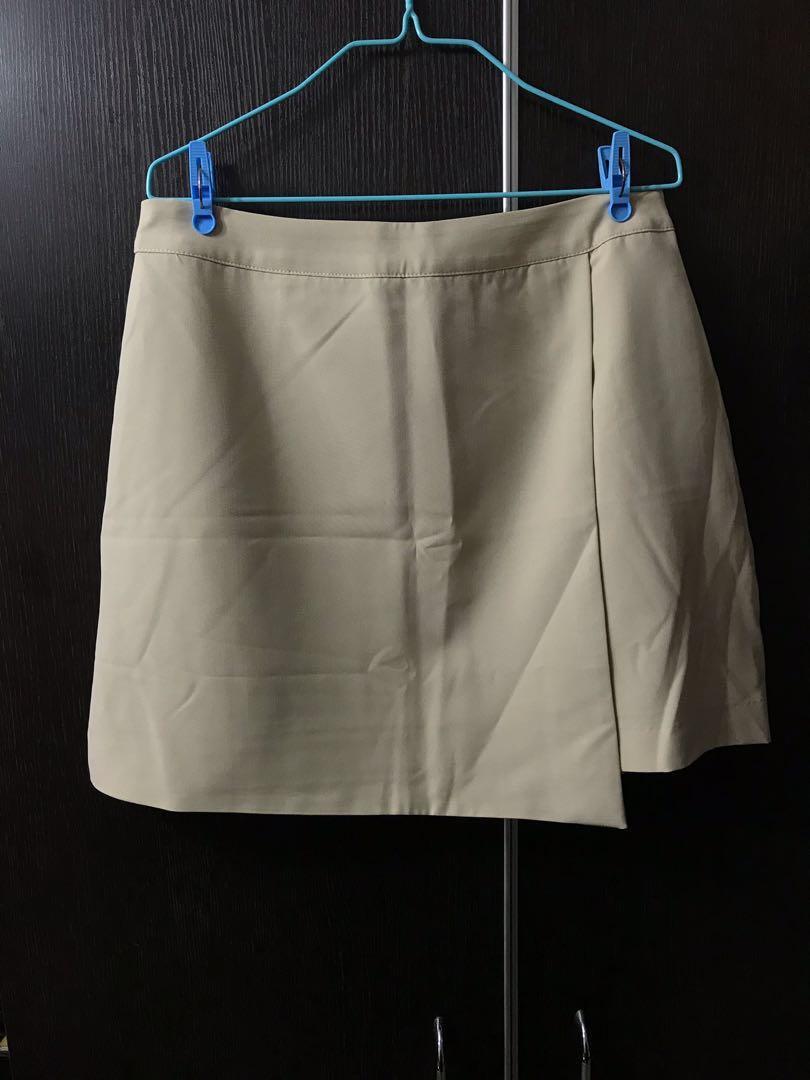 仿皮杏色半截裙 半身裙 Skirt