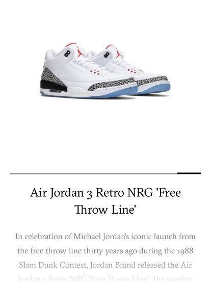 74363e56407 Air Jordan 3 Retro NRG Free Throw Line, Men's Fashion, Footwear ...