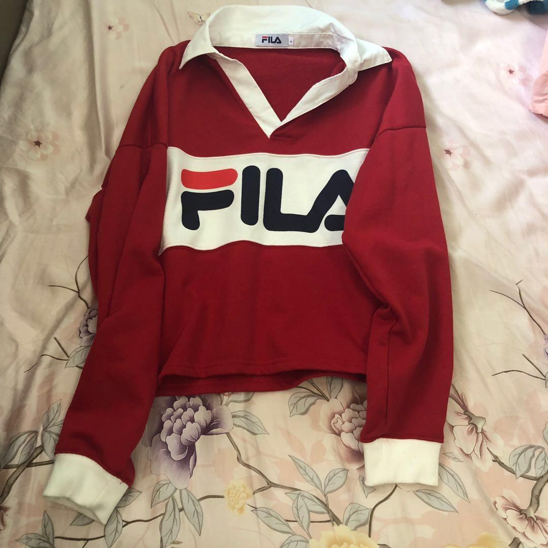 8ca79e70fdd4 authentic fila pullover red white sweatshirt collar colorblock ...