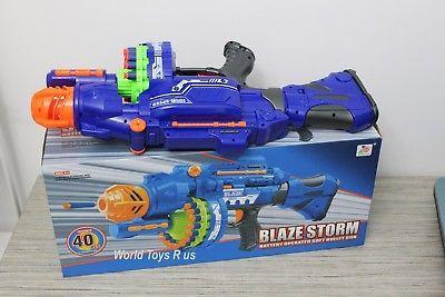 BLUE Gun Blaze Storm Kids Toy Soft Dart Machine Bullet Battle Battery