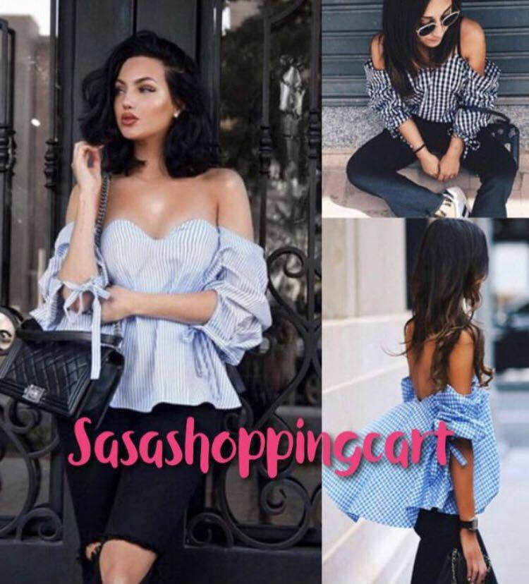 (Blue) Sexy strapless word fairy fairy palace retro style shirt bow back strap wrapped chest radiator shirt