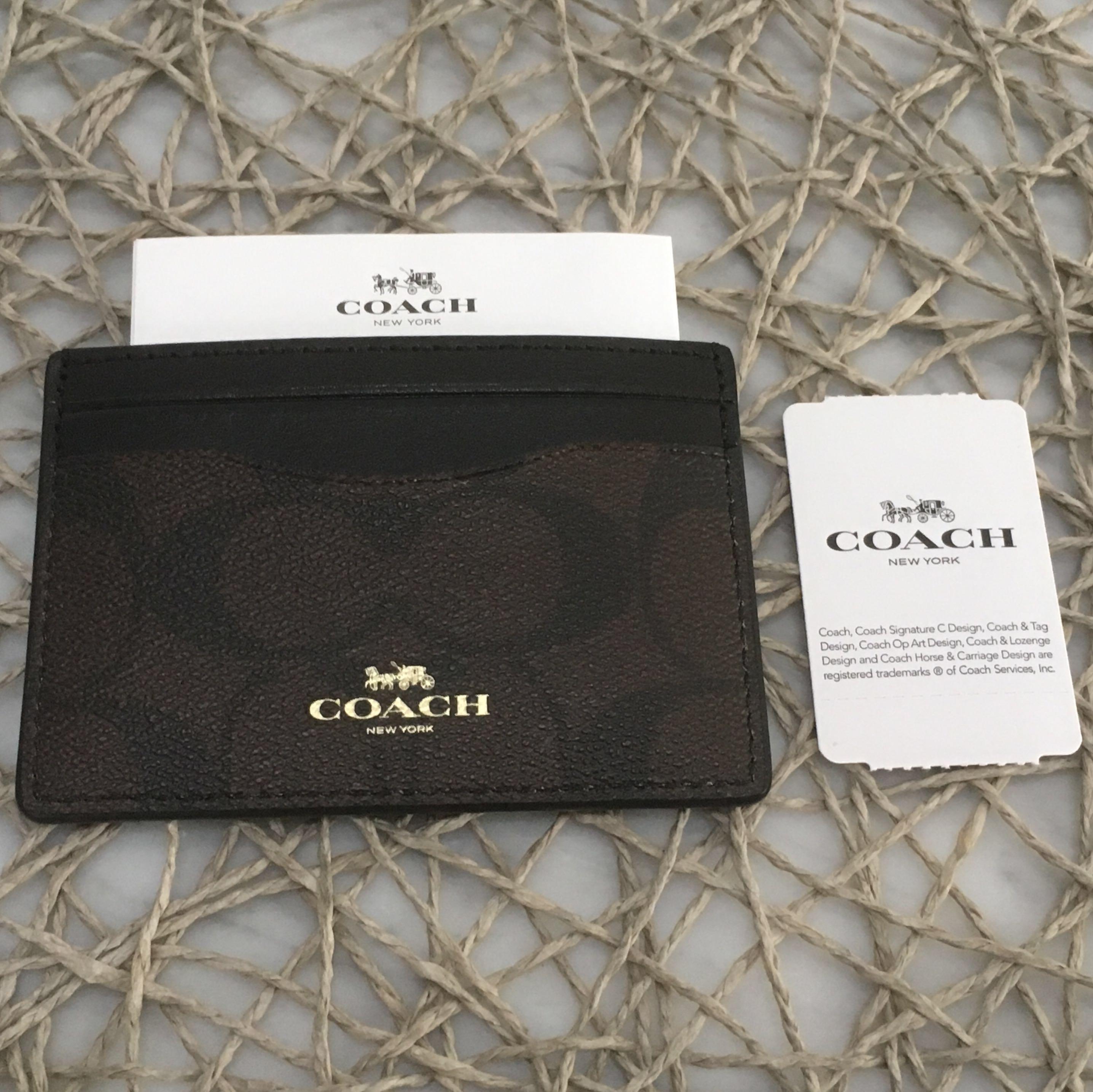ecf6bce5 BN New Coach Card Holder Case Cardholder Black Dark Brown Canvas ...