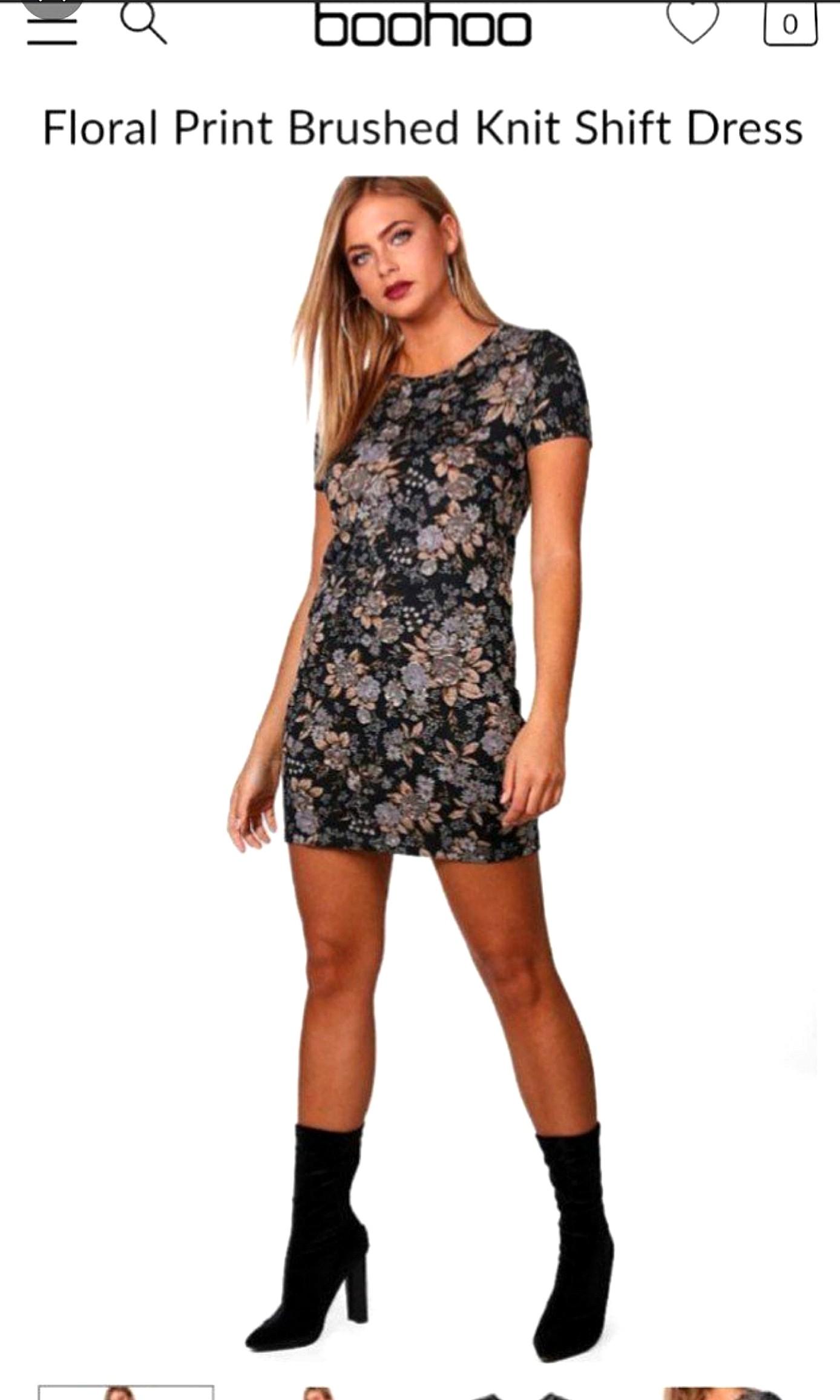 b8eac4e9e9a5 Boohoo Pretty Hayley Floral Print Brushed Knit Shift Dress asos ...