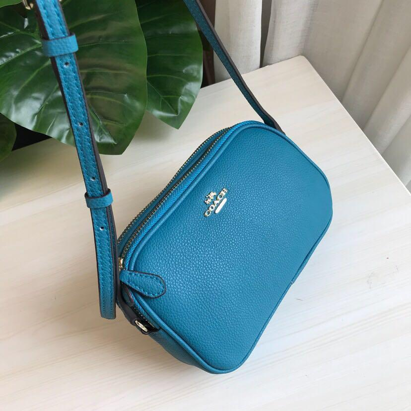 Coach Mini Crossbody Pouch In Pebble Leather Bag Women Sling Beg Blue 65988 f65988