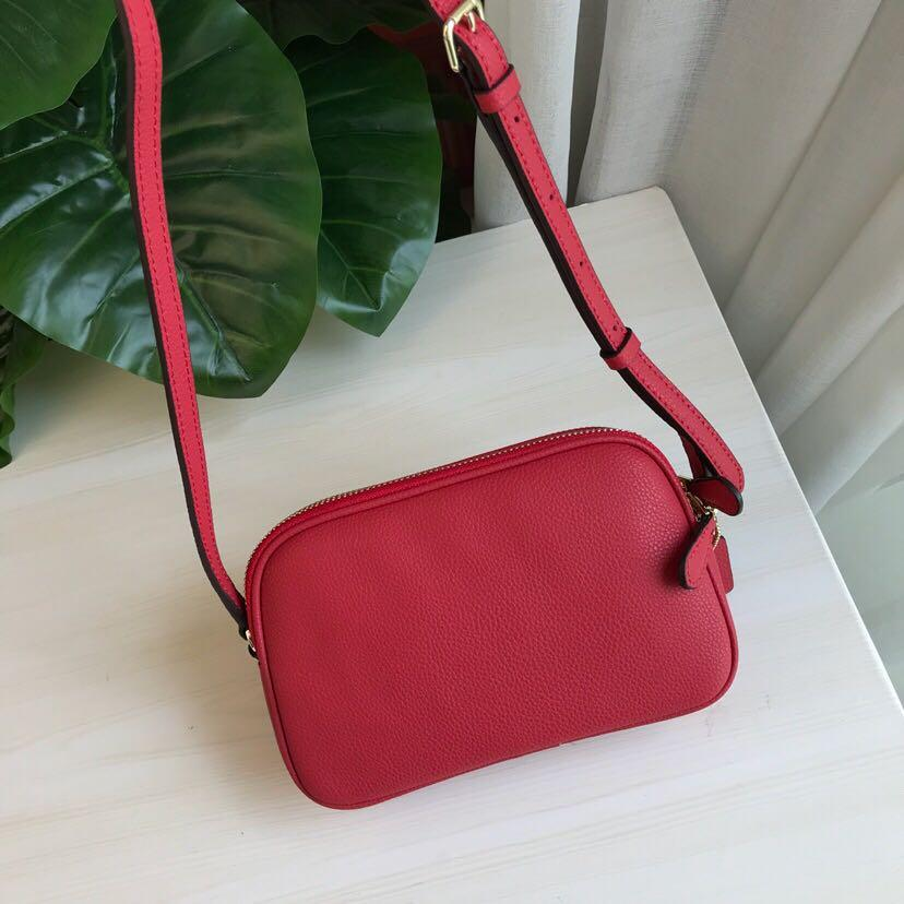 Coach Mini Crossbody Pouch In Pebble Leather Bag Women Sling Beg Red 65988 f65988