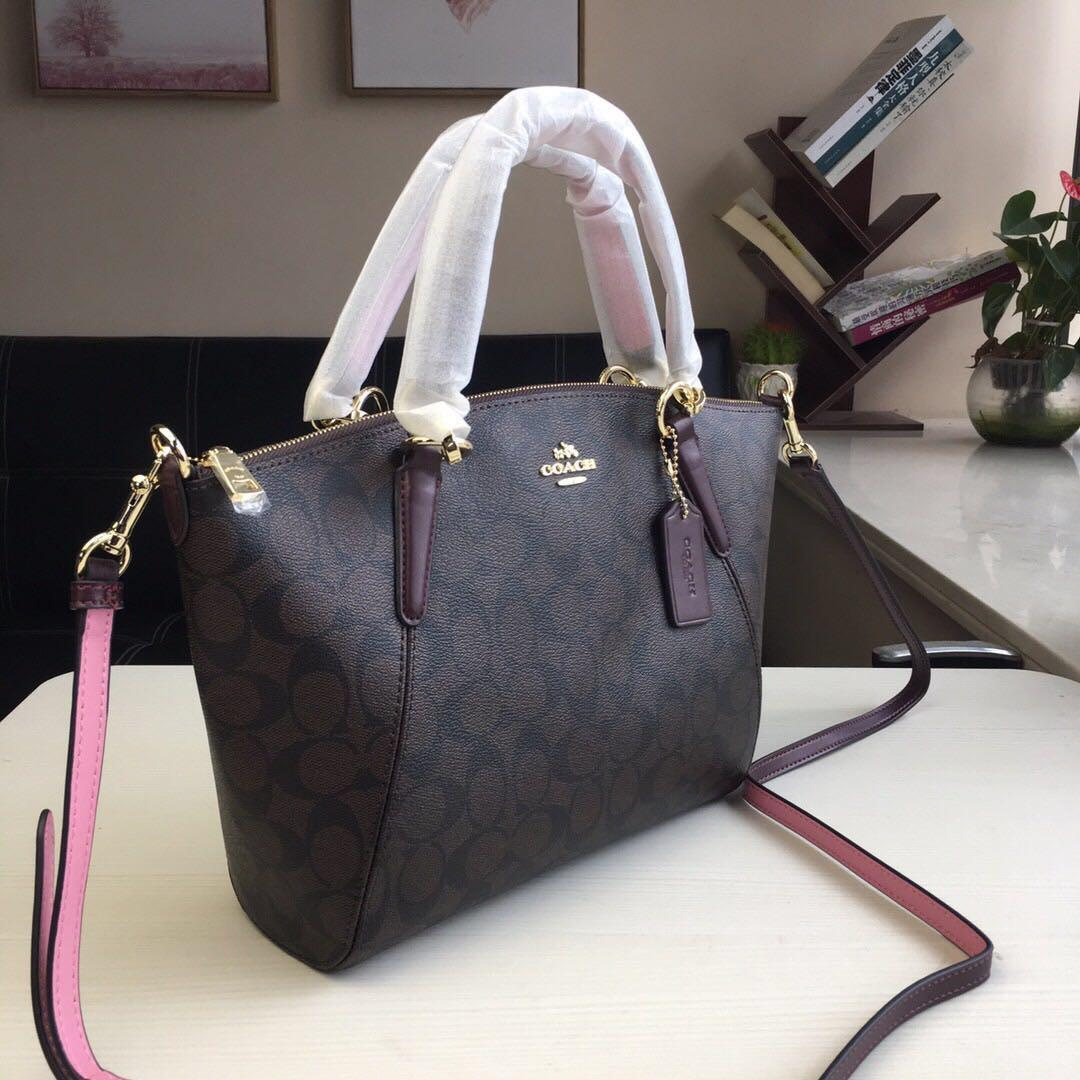 Coach Small Kelsey Signature PVC Leather Satchel Saddle Black Brown Bag Women Beg f28989 28989