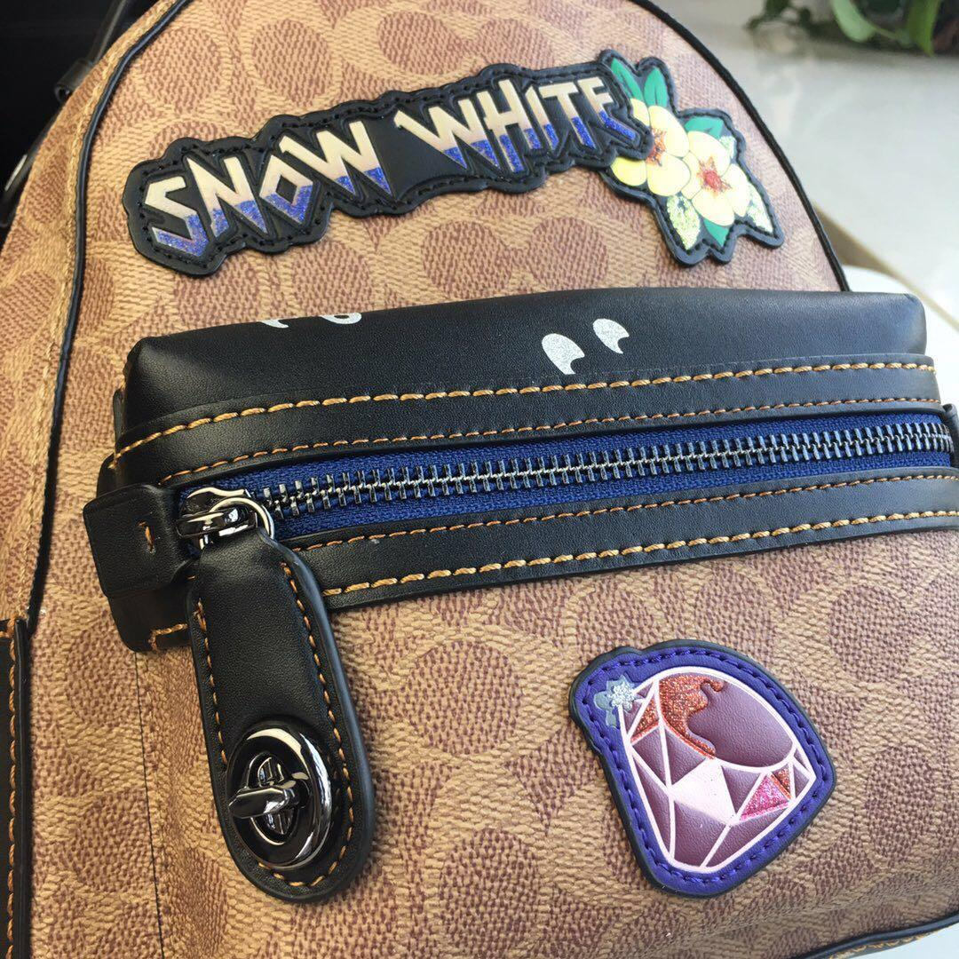 Disney Coach Campus Backpack 23 In Signature Patchwork Snow White Bag f32717