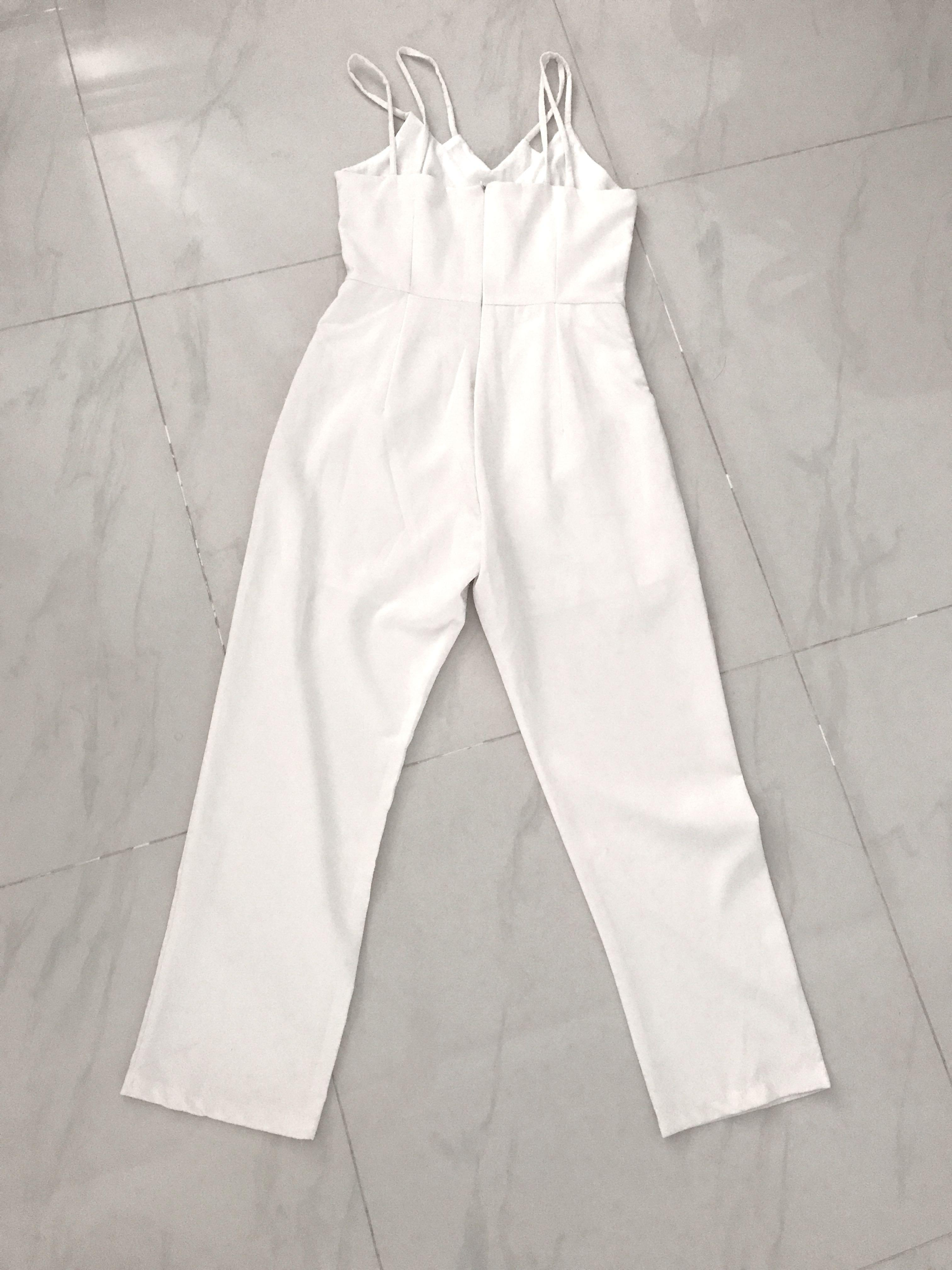 Double strapped white jumpsuit
