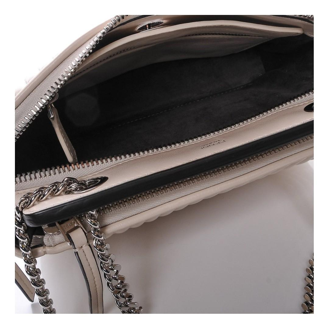 Fendi Dotcom Click Beige Caramel Quilted Lambskin Leather Chain Satchel