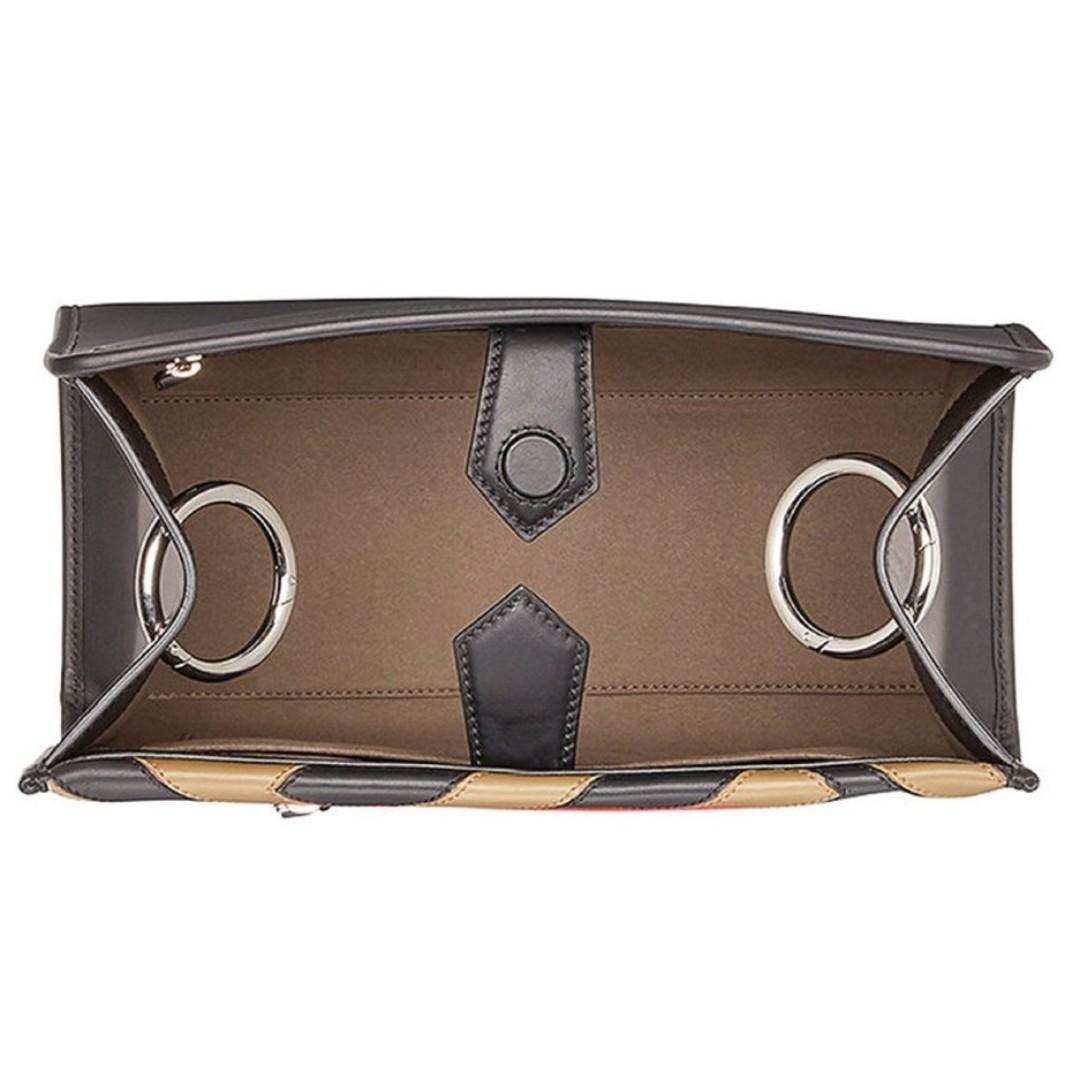 Fendi RUNAWAY Shopping Bag Calf Leather Mud Black Strawberry Color