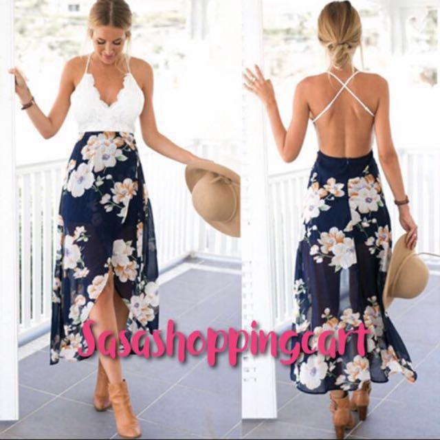 (Floral) Sexy dew pastoral wind large flowers before the short long swallowtail skirt long skirt