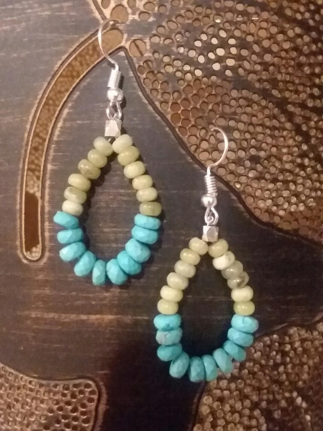 Genuine turquoise and peridot bead earrings. Hand made.